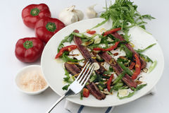 Beef Carpaccio; full sharp wide view with fork Royalty Free Stock Images
