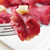 Beef carpaccio with parmesan cheese Stock Photo