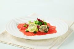 Beef Carpaccio recipe Stock Image