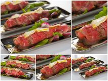 Beef carpaccio with salad leaves and vegetabales. tasty appetize Royalty Free Stock Image
