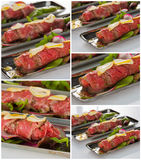 Beef carpaccio with salad leaves and vegetabales. tasty appetize Royalty Free Stock Photography