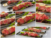 Beef carpaccio with salad leaves and vegetabales. tasty appetize Stock Photo