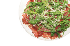 Beef carpaccio on withe plate, isolated Stock Photo