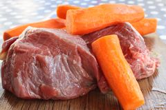 Beef and carrots Royalty Free Stock Images