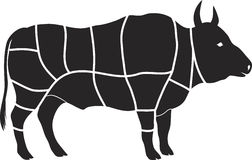 Beef chart. Vector beef cutting chart diagram Royalty Free Stock Photos