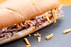 Beef and cheddar sandwich with fries Royalty Free Stock Image
