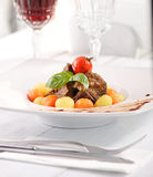 Beef cheek with vegetables Stock Photo