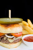 Beef Cheese Burger. And french fries Stock Photos