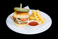 Beef Cheese Burger. And french fries Royalty Free Stock Photos