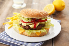 Beef Cheese Hamburger with French Fries Royalty Free Stock Photos