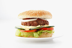Beef Cheese Hamburger. With lettuce, tomato, onion, cucumber, isolated on white Royalty Free Stock Photos