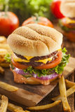 Beef Cheese Hamburger with Lettuce Tomato Royalty Free Stock Image