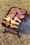 Beef and chicken barbecue Royalty Free Stock Image