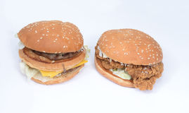 Beef chicken burgers Royalty Free Stock Images