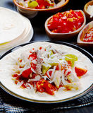 Beef and chicken  Fajitas with colorful bell peppers Stock Images