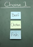 Beef, Chicken or Fish Royalty Free Stock Images