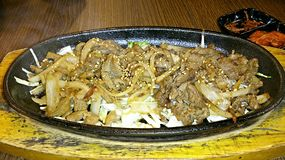 Beef and chicken hotplate Stock Image