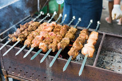 Beef and chicken kebab. Fresh meat at grill, bbq Royalty Free Stock Photos