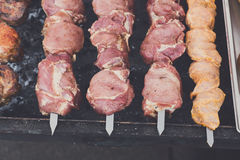 Beef and chicken kebab. Fresh meat at grill, bbq Stock Photos