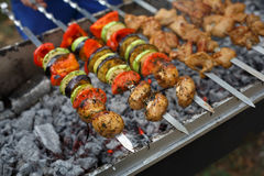 Beef and chicken kebab. Fresh meat at grill, bbq. Raw kebab grilling on metal skewer. Meat roasting at barbecue with vegetables. BBQ fresh beef chop slices Stock Images