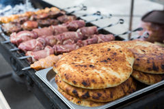 Beef and chicken kebab. Fresh meat at grill, bbq Stock Photo