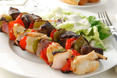 Beef and chicken kebobs Stock Photo