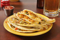 Beef and chicken quesadillas Stock Image