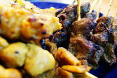 Beef and Chicken Satay. Grilled chicken and beef satay, one of malaysia's tradional food Royalty Free Stock Photo