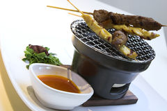 Beef & Chicken Satay with Peanut Sauce Stock Photos