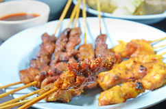 Beef and Chicken Satay Royalty Free Stock Photo