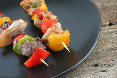 Beef and Chicken Shishkabobs Royalty Free Stock Photos