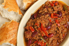 Beef Chili with Bread Stock Photos