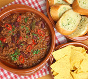 Beef Chili with Garlic Bread and Tortilla Chips Stock Photo