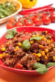 Beef Chili with Sweetcorn and Cilantro royalty free stock photography