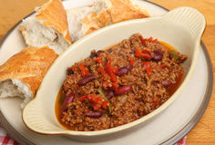 Beef Chilli or Chili with Crusty Bread Royalty Free Stock Photos