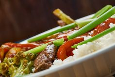 Beef chilli flash fry. Goan  Beef chilli flash fry with yoghurt rice , close up Royalty Free Stock Images
