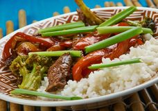 Beef chilli flash fry. Goan  Beef chilli flash fry with yoghurt rice , close up Stock Photography