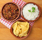 Beef Chilli with Rice and Tortilla Chips Royalty Free Stock Image