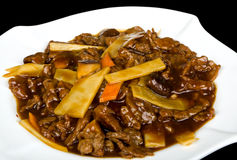 Beef with chinese mushrooms Royalty Free Stock Photos