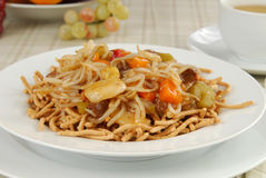 Beef Chow Mein. A heaping bowl of beef chow mein stock photo