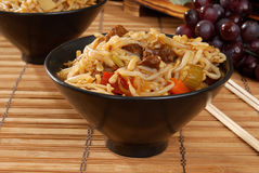Beef chow mein. A bowl of been chow mein stock image