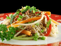 Beef Chow Mein. Stirfry beef chow mein with fresh Chinese vegetables royalty free stock image