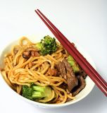 Beef chow mein chopsticks bowl Stock Photography