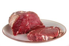 Beef chunk on dish Royalty Free Stock Images