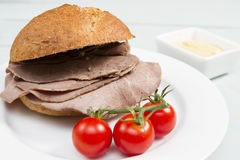 Beef cob. Traditional British snack of a roast beef cob Royalty Free Stock Image
