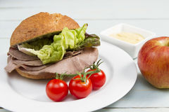 Beef cob. Traditional British snack of a roast beef cob Stock Image
