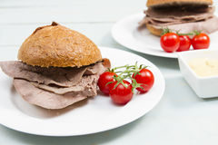 Beef cob. Traditional British snack of a roast beef cob Royalty Free Stock Images