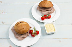 Beef cob. Traditional British snack of a roast beef cob Royalty Free Stock Photography
