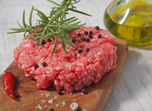 Beef cooked hamburger with oil Stock Photo