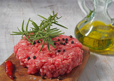 Beef cooked hamburger with oil Stock Image